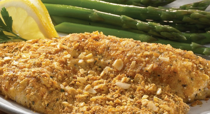 Finely chopped almonds, bread crumbs and Parmesan cheese combine to ...