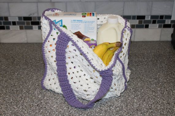 Crochet Grocery Bag Pattern : Easy Granny Square Reusable Grocery or Tote Bag Crochet Pattern