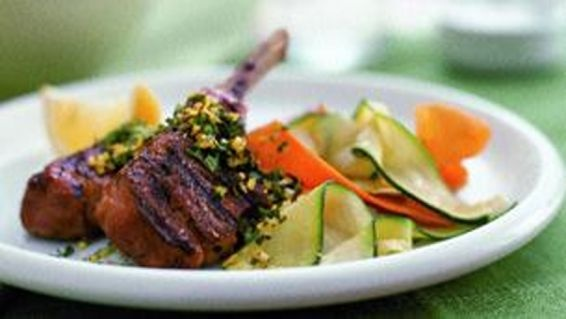 Lamb Chops with mint gremolata Recipe...enjoy with a bottle of wine ...