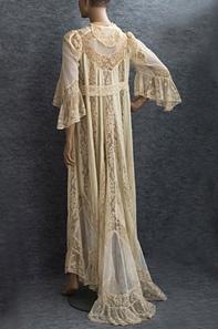 Silk and lace peignoir, circa 1910.