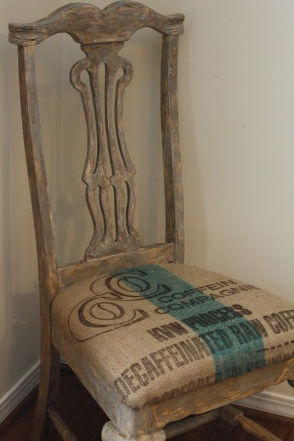 Distressed painted side dining room chair with burlap sack coffee bag upholstered seat cushion for cottage style home decor; french country; Upcycle, Recycle, Salvage, diy, thrift, flea, repurpose!  For vintage ideas and goods shop at Estate ReSale & ReDesign, Bonita Springs, FL