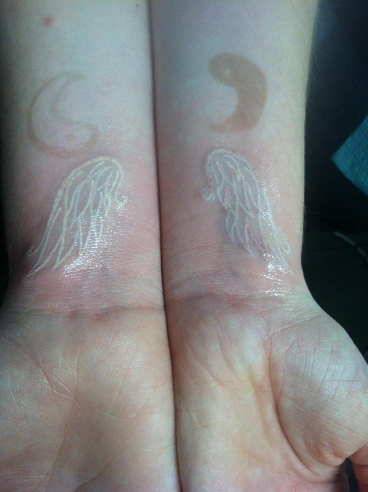White ink angel wing tattoo and yin yang henna ink tattoo for White henna tattoo ink