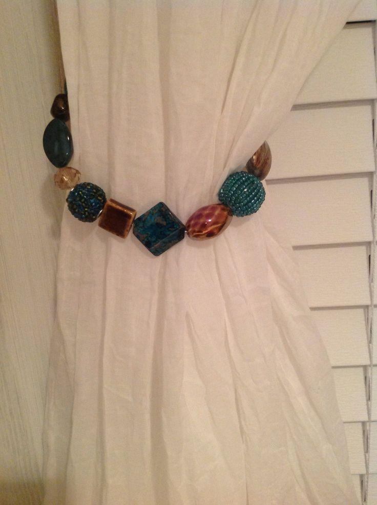 Bead curtain tie backs.   deco   Pinterest