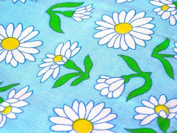 Vintage Fabric  Yellow & White Daisies on Light by NehiandZotz,