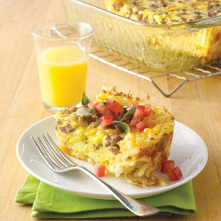 Cheesy Egg and Sausage Breakfast Casserole - used Alexia shredded ...