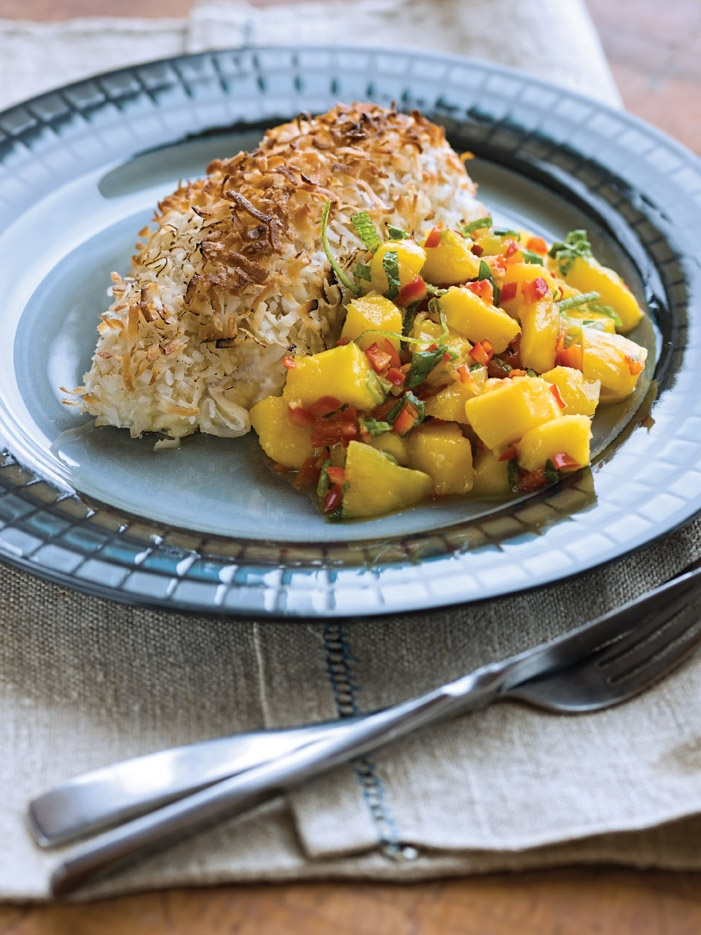 mango lime salsa coconut crusted chicken with mango salsa recipes