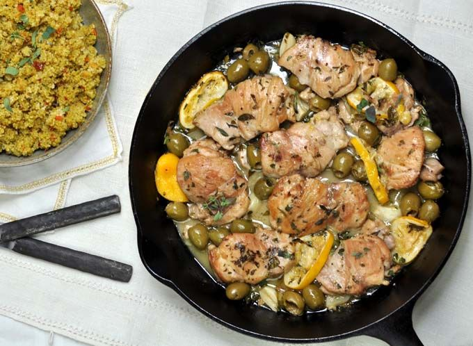 Sherry Braised Chicken Thighs with Meyer Lemons and Olives (http://www ...