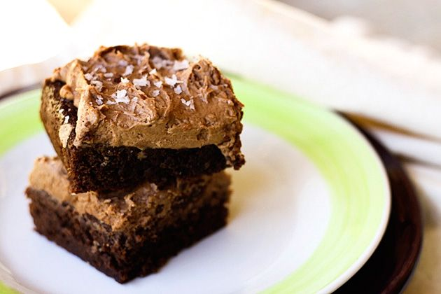 Brownie Cake with Salted Nutella Peanut Butter Frosting | Recipe