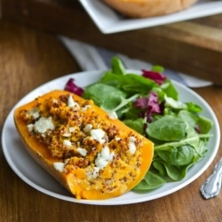twice baked butternut squash with quinoa and gorgonzola cheese