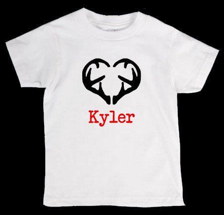 Valentines day deer antler heart personalized onesie or kid s t shirt