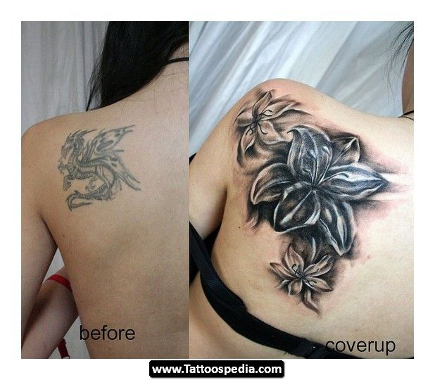 The gallery for dark flower tattoos cover ups for Dark tattoo cover up