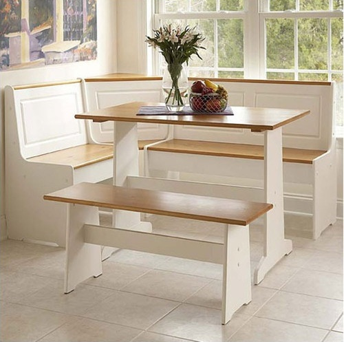 white kitchen dining room wood corner breakfast nook table