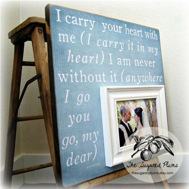 ... Wedding Gift Personalized Picture Frames 16x16 I CARRY YOUR HEART USD75