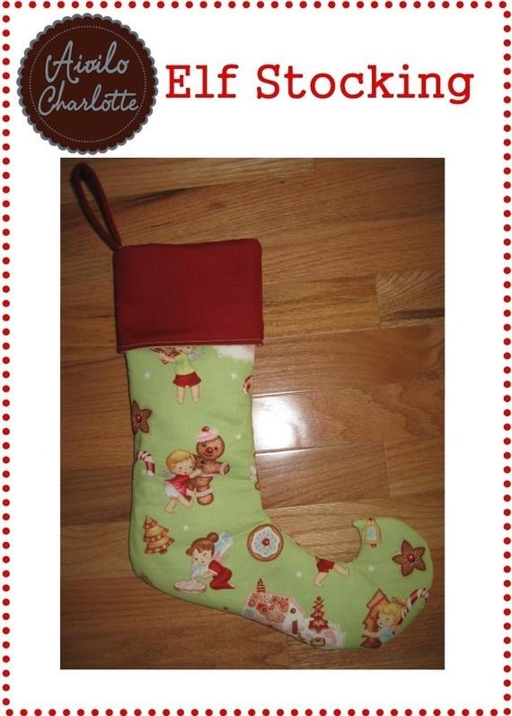 Elf Stocking - curled toe Christmas stocking - pdf sewing pattern ...