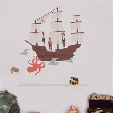 Mini Pirate Ship Fabric Wall Decals