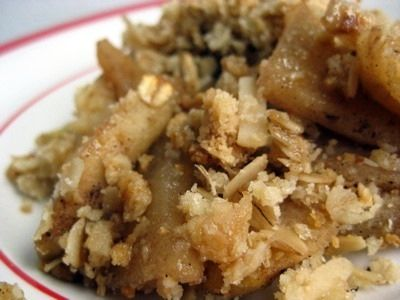 ... almond apple crisp if you cant have oats just use all blanched almond