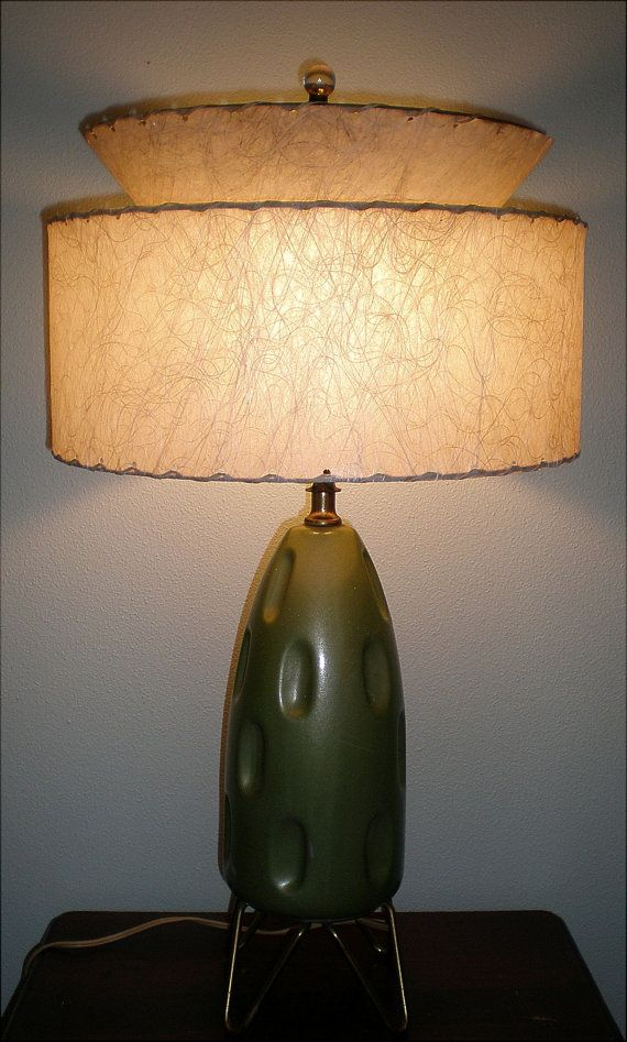 mid century modern lamp with fiberglass shade by buddhagal on etsy. Black Bedroom Furniture Sets. Home Design Ideas
