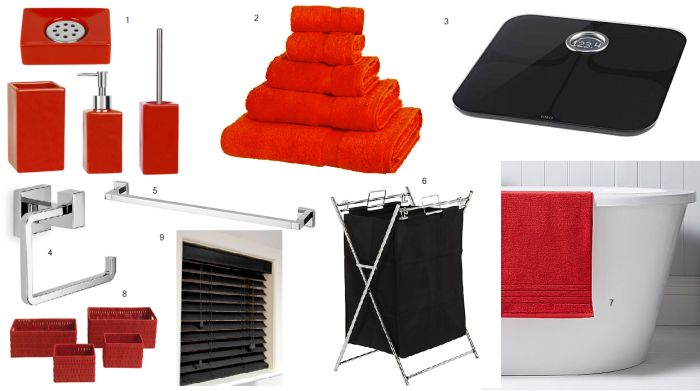 Red and black bathroom decor ideas home ideas pinterest for Red and black bathroom accessories sets