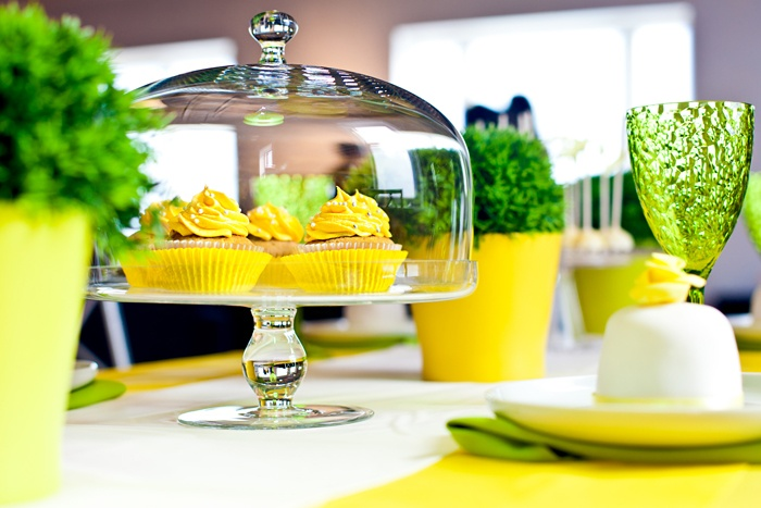 summer party theme design yellow and lime green feel of nature. 'low-budget' idea decorations yellow and green lanterns flower pots grass plants sweets summery cupcakes color scheme cake pops ribbon designs delicious lemon flavored trifles de verrines freshness lemonade green striped straws salar planners salar event planning