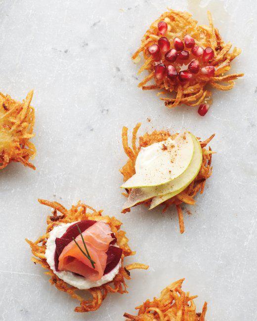 Potato Latkes and tons of topping combos for Hanukkah/Christmas