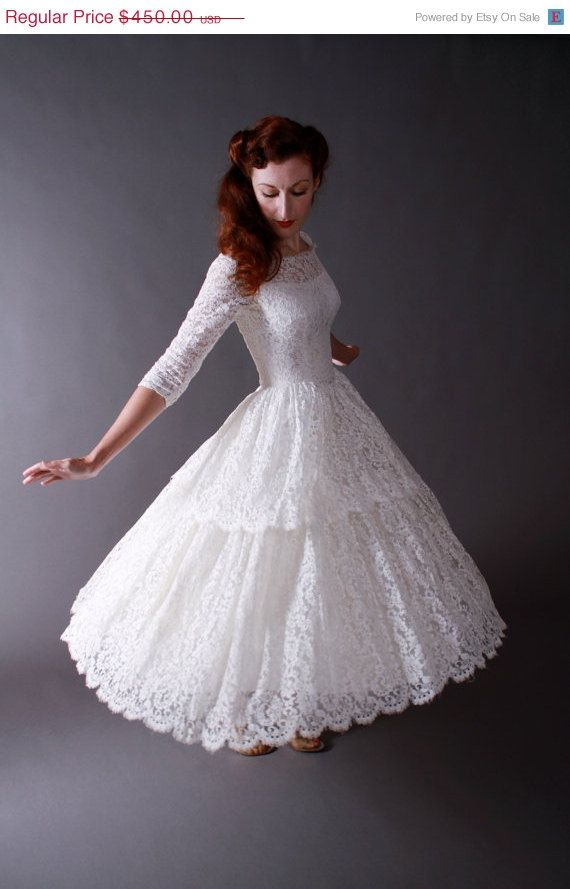 Vintage 1950s Tea Length New Look Wedding Dress Of Chantilly Lace