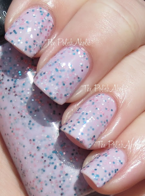 Pink is pink blue and silver glitter in a milky light pink base