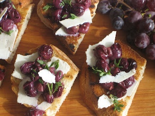 Concord Grape Bruschetta with Ricotta Salata & Thyme Recipe