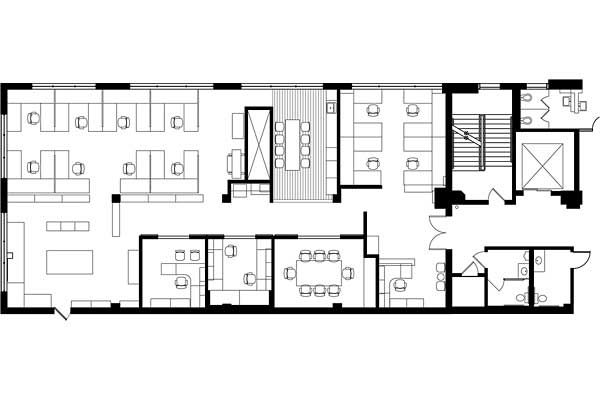 Office space floor plan school projects pinterest for Office space planning boomerang plan
