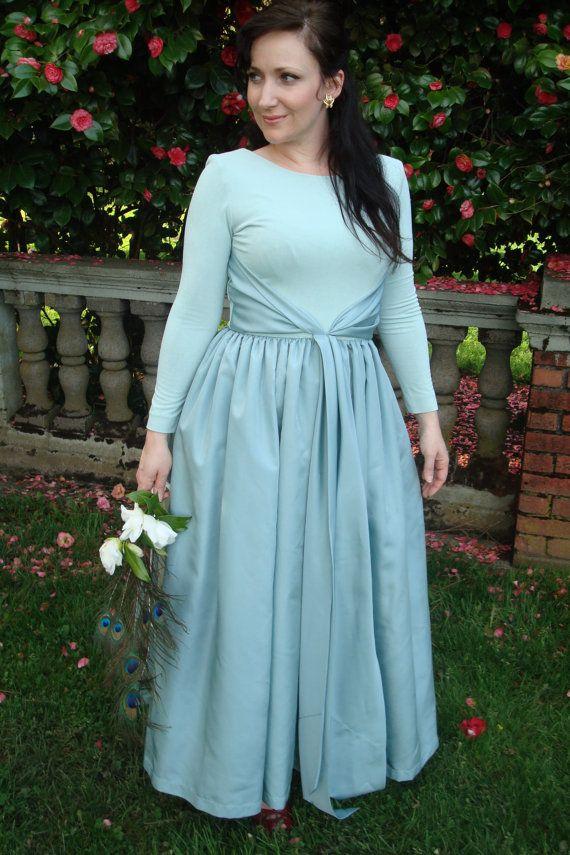 Off sale vintage blue wedding dress by beastvintage on etsy