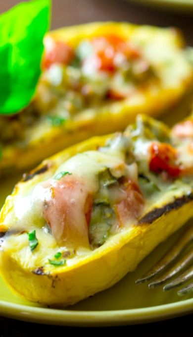 Grilled Summer Squash Boats...with tomato, green pepper, onion and ...