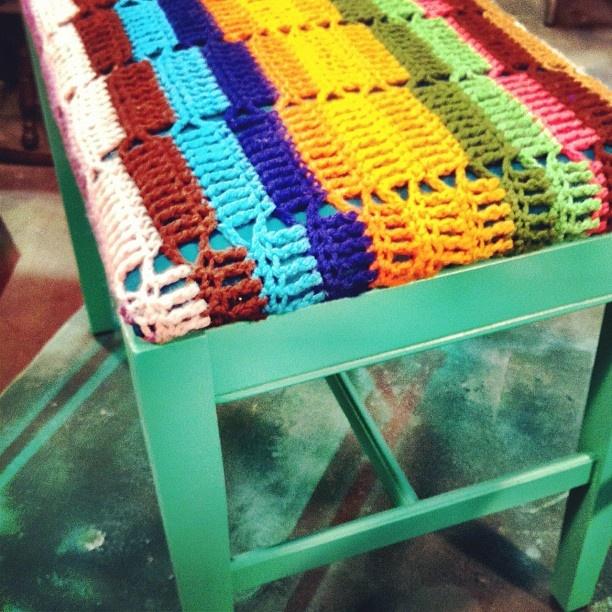 Repurposed afghan bench