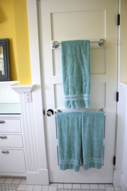 Towel racks on the back of the door house design pinterest for Door towel racks for bathrooms