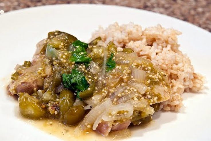 "Tomatillo Chicken over Rice and Beans! ""Very delicious and healthy""..."