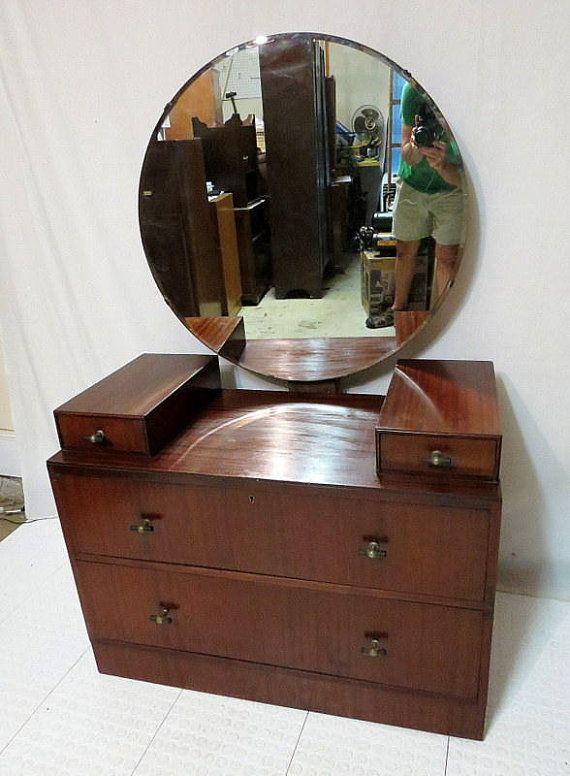 Vintage Antique Mahogany Dressing Table Vanity W Round