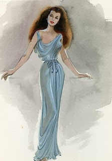 Costume design sketch for the character of Salome [as portrayed by Rita Hayworth] by Jean Louis.