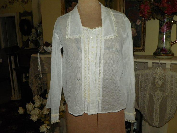 Antique Edwardian White Crochet Lace Blouse Shirtwaist 67