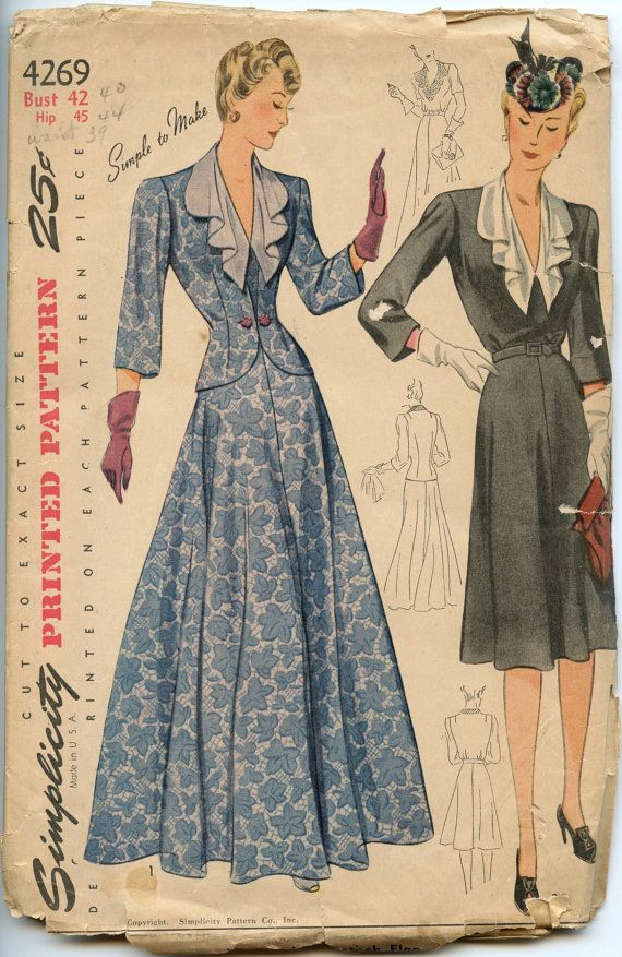 1940s vintage sewing pattern simplicity 4269 womens jacket and dress