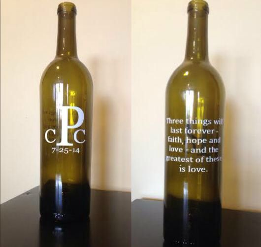 Personalized wine bottles-great engagement gift or bridal shower gift - used for special letters for the bride and groom to write to each other on or about their wedding day, seal it and designate a special anniversary to open and read.