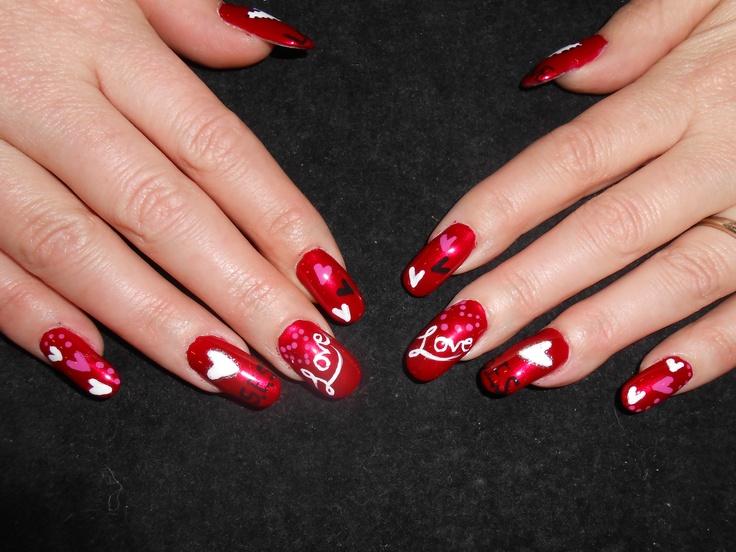 valentine art nail