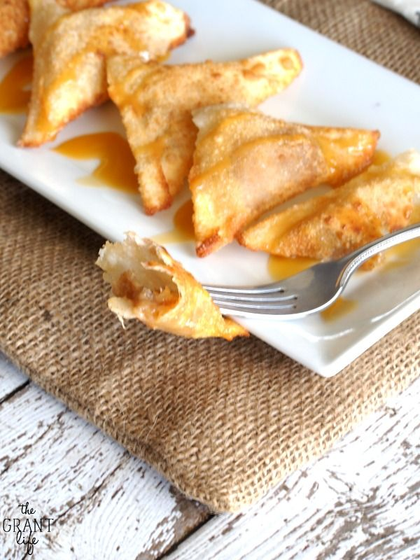 Totally gonna try these! Caramel Banana Wontons - The Grant Life