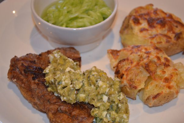 Steak with Salsa Verde, Crushed potatoes and cucumber salad.