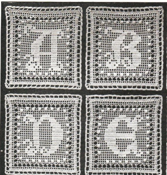 Vintage alphabet crochet square pattern- a to z , afgans, throws, e...