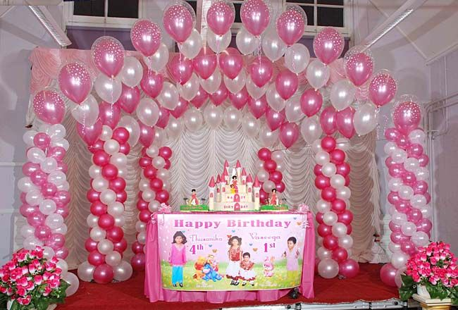 Pink and white balloon decorations birthday party for Balloon decoration for birthday at home