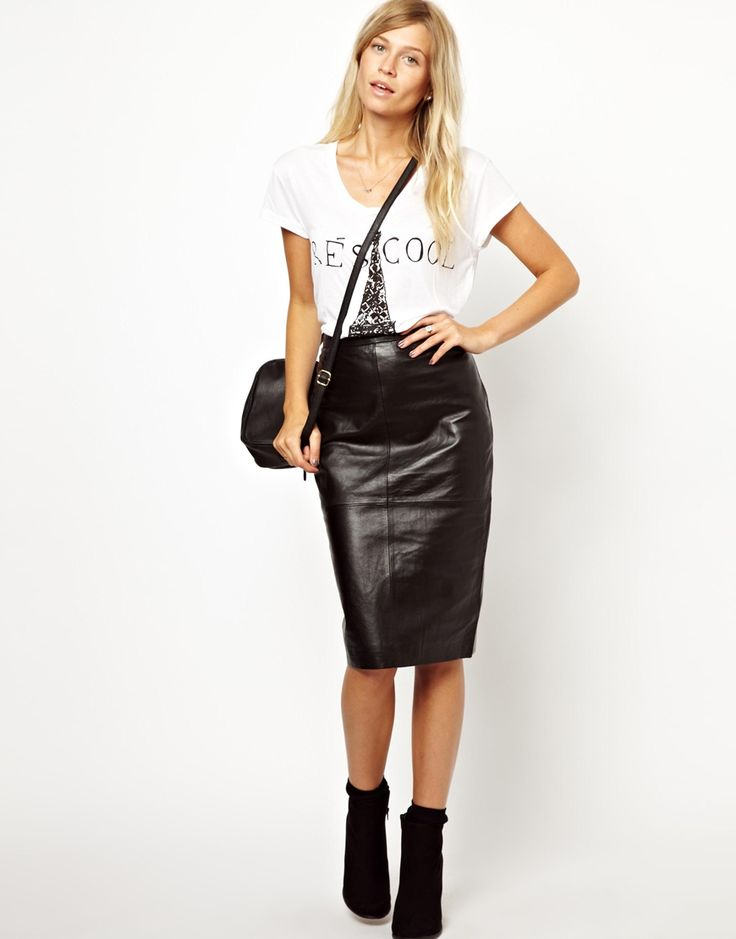 oasis leather high waisted pencil skirt