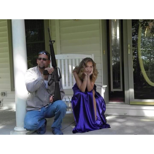 Father and daughter, waiting for prom date.