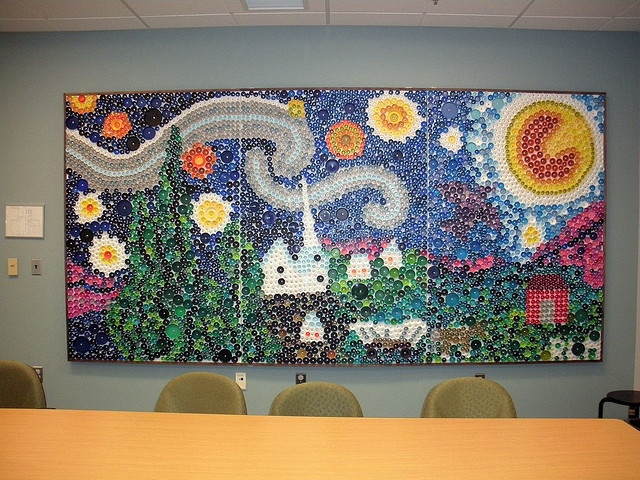 Starry night bottle cap mural bottle cap murals pinterest for Bottle cap mural