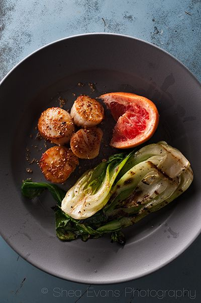 Seared-Scallops-with-Grilled-Baby-Bok-Choy,-Grapefruit-and-Cracked ...