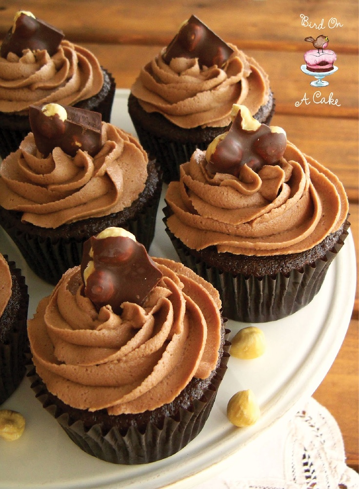 Nutella {Chocolate Hazelnut} Cupcakes via Bird On A Cake - lick the bowl good!