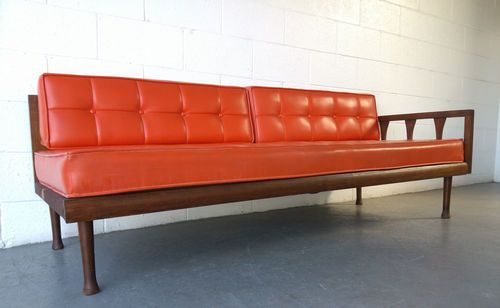 mid century modern sofa day bed with orange vinyl cushions ebay