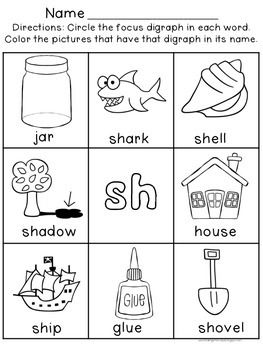 Digraph Worksheets : Sh, Ch, Th, Wh, Ph, EE, OO - Help your young ...